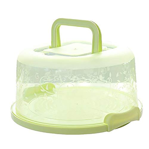 """Cake and Cupcake Carrier/Storage Container - 10.2"""" Diameter (Inside Cover), Translucent Dome - Perfect for Transporting Cakes, Cupcakes, Pies, or Other Desserts (10.2 x 8.7 x 4.9inch, Green)"""