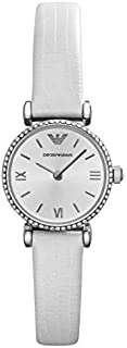 Emporio Armani Classic Women's Silver Dial Leather Band Watch - AR1686