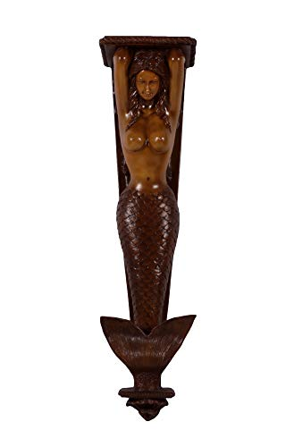 Mermaid Pilaster Wall Accent Sculpture (Wood, Large 43