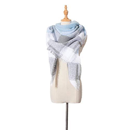 Shenme Mujeres de otoño e Invierno Círculo de Manta Arena Grande Plaid Cuadrada Bufanda Bufanda cómoda cálido Babero de Doble Cara Chal (Color : D)