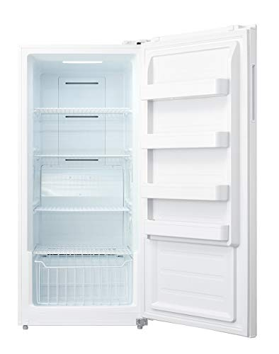 Smad Upright Freezer 13.8 Cu.ft with Freezer/Refrigerator Conversion Single Door Recessed Handle Freestanding for Home Kitchen, Restaurant, White