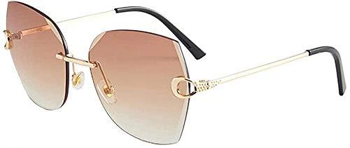 Gafas de sol sin montura de cristal corte borde gafas de sol de protección UV para mujer