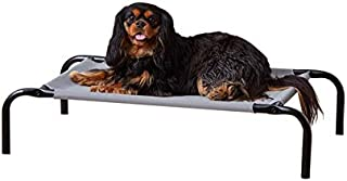AmazonBasics Small Elevated Cooling Pet Dog Cot Bed - 36 x 22 x 7.5 Inches, Grey