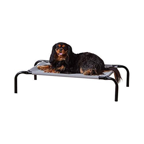 Amazon Basics - Cama elevada transpirable para mascotas, pequeña (90 x 55 x 19 cm), gris