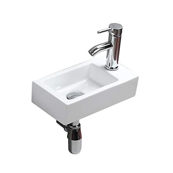 eConnect-EU Pared Mini Lavamanos Baño Cerámico Blanco Lavabo Lujoso en Forma Sobre Encimera sin Desbordamiento para el…