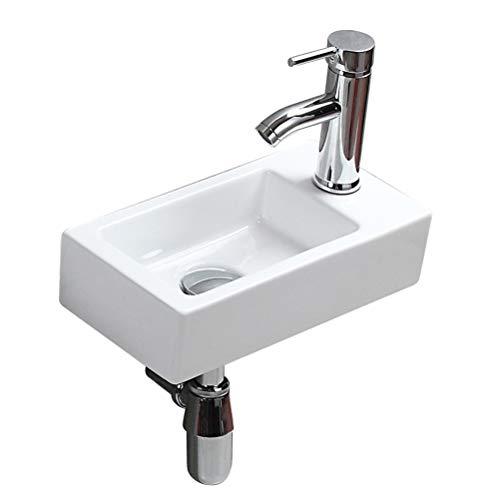 eConnect-EU Pared Mini Lavamanos Baño Cerámico Blanco Lavabo Lujoso en Forma Sobre Encimera sin Desbordamiento para el Baño Lavamanos de Aseo (365 x 185 x 90 mm)