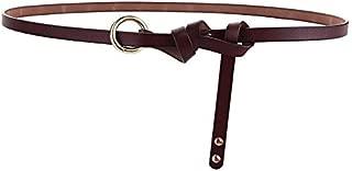 XWenwuSUM New Thin Belt Retro Leather Rivets Circle Knotted Belt Dress Decorative Belt (Color : Coffee, Size : 115cm)