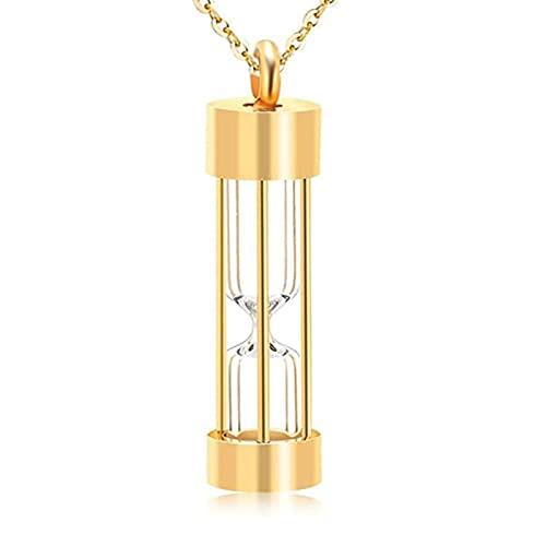 Memoria de la eternidad Reloj de Arena Collar Memorial Cremación Joyería Acero Inoxidable Colgantes Pendientes de medallón Cenizas para Pet/Human (Metal Color : Gold)