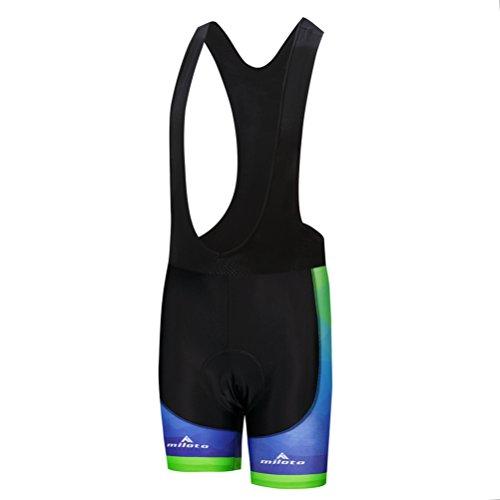 Uriah Men's Bicycle Bib Shorts Black Gel Padded Tights Fluorescence Green Size XL(CN)