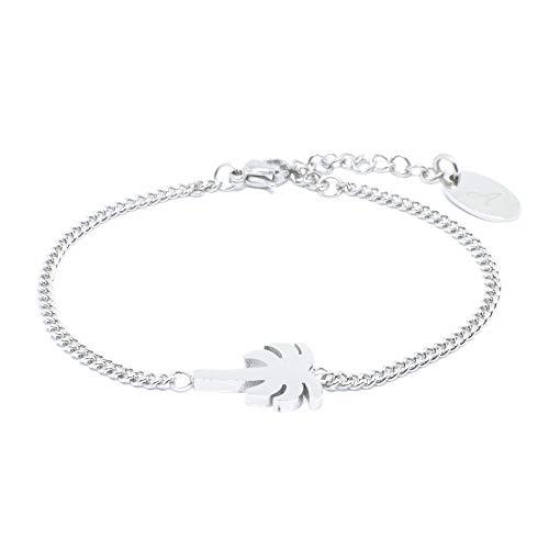 Palmen Armkettchen in Silber Stainless Steel - Edelstahl - Armband Palme/Palm Tree Größenverstellbar 16 cm bis 19 cm