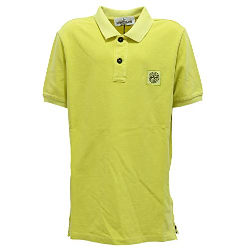 Stone Island 7288Y Polo Bimbo Boy Junior Acid Yellow Cotton Polo-Shirt [10 Years]