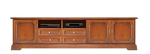 Arteferretto TV-Lowboard 250 cm breit aus Holz im klassischen Stil, Stilmöbel TV-Möbel im Landhausstil für Wohnzimmer, 2 Fächer/4 Schubladen/3 Türen, Schon Montiert.
