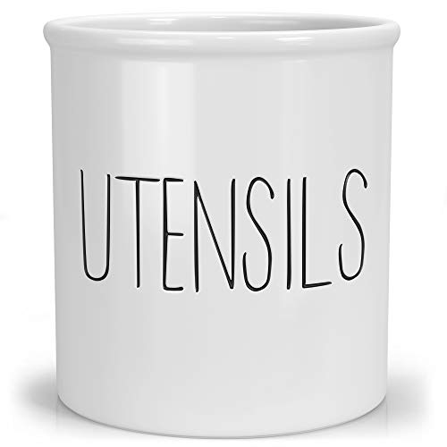 Barnyard Designs Ceramic Utensil Crock Holder for Kitchen Counter, Rustic Farmhouse Countertop Decor, French Country Organizer Caddy for Cooking Utensils, Spatulas and Mixing Spoons, White, 5.5 x 6