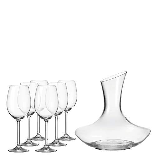 Leonardo Dekanter und Rotweingläser Daily, Dekantierer und Weingläser im modernen Design, Karaffe und Gläser im Set, 7-teilig, 032822