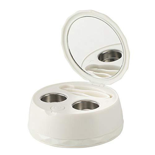 Kleine Draagbare Ultrasone Contact Lens Cleaner Contactlenzen Case Box Tijd aanpassing Ultrasone klankmachine Badring (Color : White)
