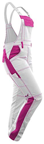 strongAnt - Damen Arbeitshose Arbeits-Latzhose Weiß Pink für Frauen Malerhose komplett Stretch mit Kniepolstertaschen Baumwolle - Weiß-Pink 17