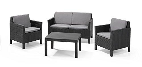 Keter - Conjunto de jardín de 4 plazas Chicago Lounge con cojines...