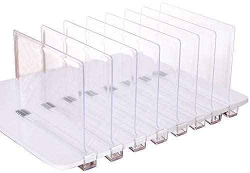 Sooyee Beautiful 8 PCS Acrylic Shelf Dividers, Perfect Perfect for Closets Kitchen Bedroom Shelving Organization to Organize Clothes Closet Shelves, Books,Towels and Hats, Purses Separators,Clear.