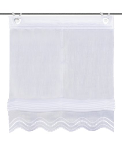 Home Fashion 91252-801 - Estor de cintas con bordado inglés (fabricado en batista, 140 x 60 cm, con corchetes), color blanco