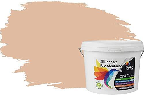 RyFo Colors Silikonharz Fassadenfarbe Lotuseffekt Trend Orangetöne Sand 3l - bunte Fassadenfarbe, weitere Orange Farbtöne und Größen erhältlich, Deckkraft Klasse 1