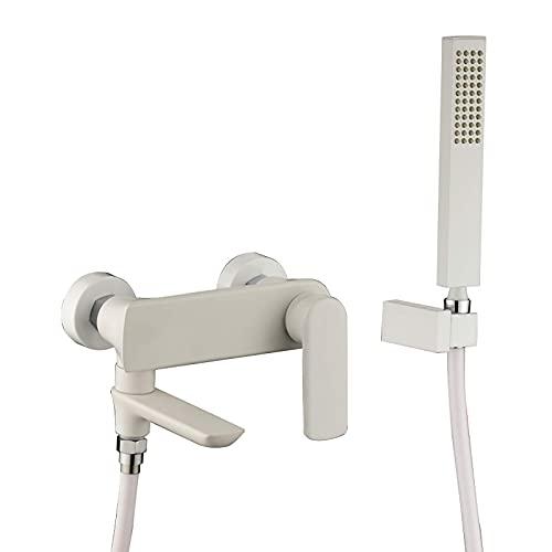 Grifo de bañera blanco Grifo de bañera de una manija Grifo de bañera de agua fría y caliente Grifo de llenado de bañera montado en la pared con cabezal de ducha de mano de latón