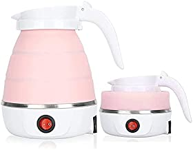 LXTaoler Foldable Electric Kettle,Travel Portable Kettle, Foldable Silicone Electric Kettle, 600ml Insulation Heating Boiler Tea Pot for Camping, Pink