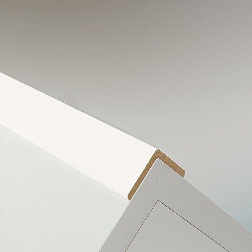 Winkelleiste Schutzwinkel Winkelprofil Tapeten-Eckleiste Abschlussleiste Abdeckleiste aus MDF in Uni Weiß Hochglanz 2600 x 32 x 32 mm