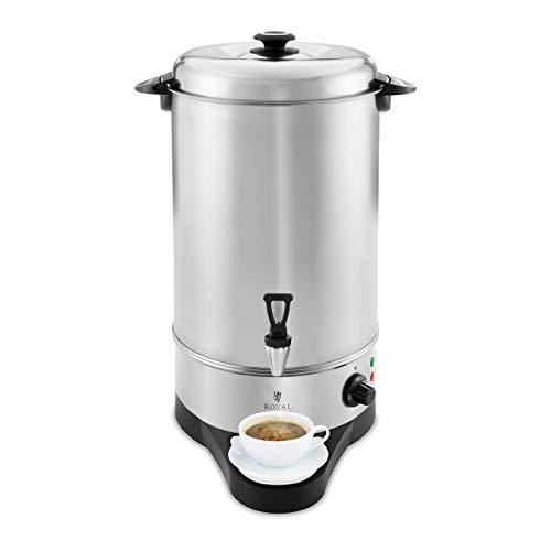 Royal Catering RCWK 10A Wasserkocher Abtropfschale 10 l 11,5 l 1.600 W Edelstahl 100 °C Teekocher Ablasshahn