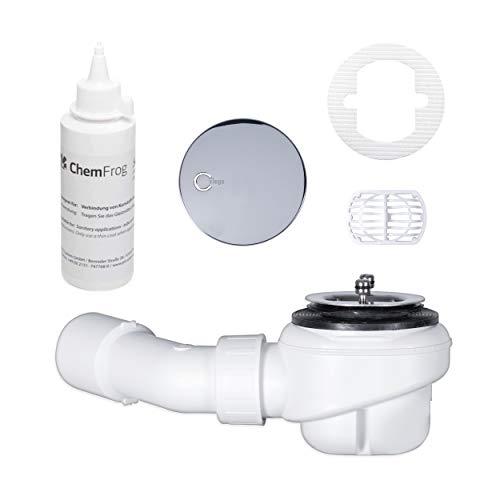 TRAPFLEX Set - Ablaufgarnitur Viega Domoplex 6928 Siphon in Chrom (waagerecht) mit Haarfilter, Gleitmittel und GRATIS Haarfänger