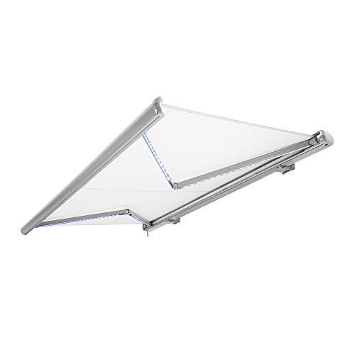 Nemaxx Store banne motorisé de avec LED, Coloris de la Toile Blanc, Couleur de la Structure Blanche, télécommande, imperméable à l'eau, 4x3m