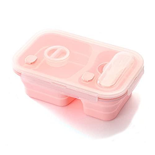 Fiambrera Plegable,bento Box Hermética, Caja Almuerzo De Silicona Con Compartimentos Y Tenedores Y Cucharas,se Puede Utilizar En Hornos Microondas,Frigoríficos, Lavavajillas/Pink 2 Grids