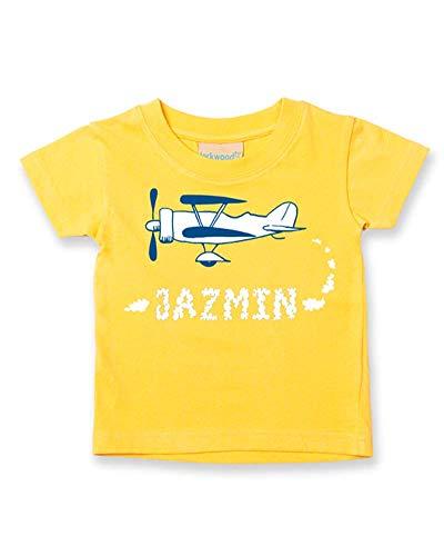 Ice-Tees T-shirt personnalisé pour bébé/enfant Motif Old Biplane - Jaune - 2-3 ans