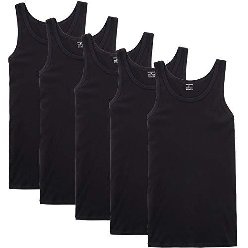 YOUCHAN Unterhemd Herren Tank Top 5er Pack Feinripp Muskelshirts Baumwolle alle Größen und Farben-Schwarz-XL
