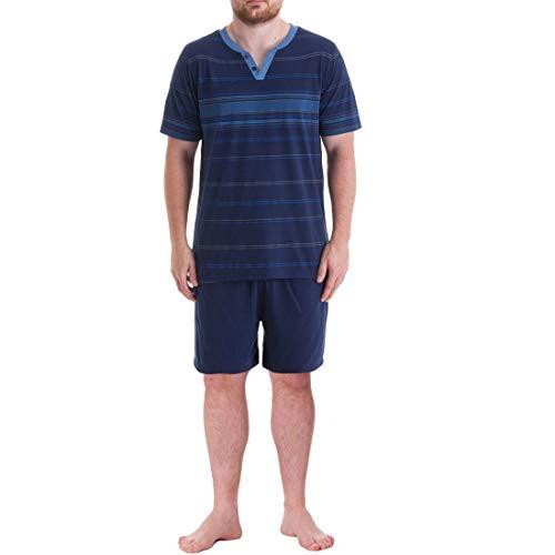 Henry Terre T-shirt court pour homme avec boutonnière fixe et short - Bleu - L