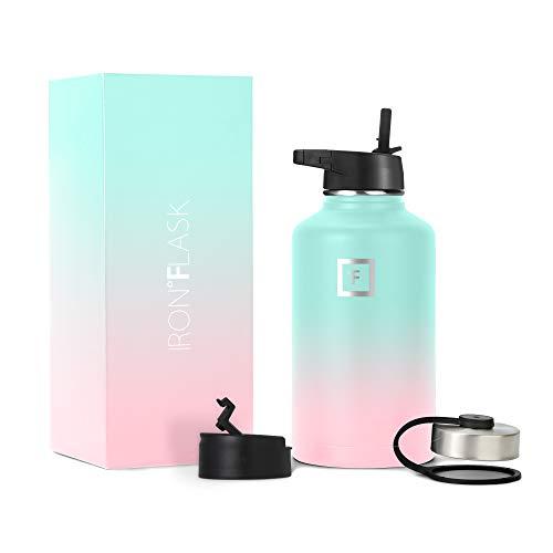 Iron Flask - Botella deportiva para el agua, 414ml, 532ml, 650ml, 946ml, 1182ml, o 1892ml, 3 tapas (tapa para popote), botella de acero inoxidable, aisladas al vacío,...