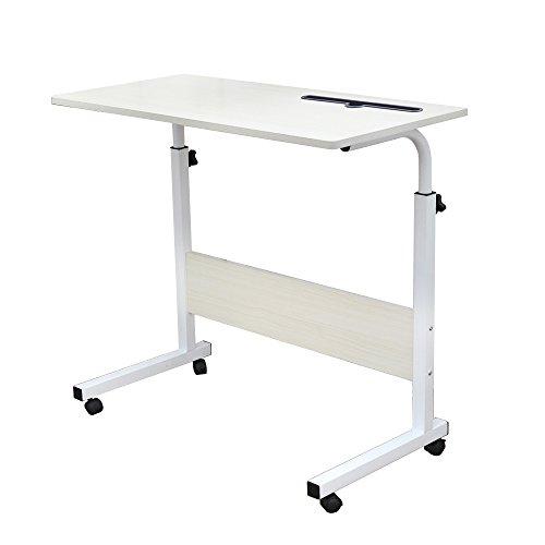 DlandHome 80 * 40 cm Ajustable Mesa de Ordenador Portatil con Ruedas Sofá Mesa Mesas de Centro,con Ranura para Tableta, Arce