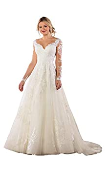 Clothfun Women s Lace Long Sleeve Beach Wedding Dresses for Bride 2021 A-Line Simple Bridal Gowns Ivory 24 Plus Size