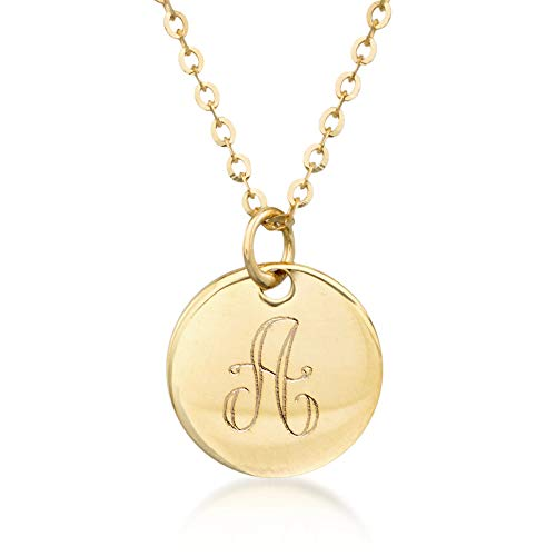 Ross-Simons Italian 14kt Yellow Gold Single Initial Petite Circle Charm Necklace