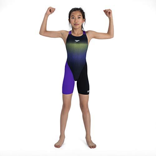 Speedo Fastskin Junior Endurance+ Openback Kneeskin Jf Neoprenanzug Unisex Kinder L Schwarz/Violett/Neongelb