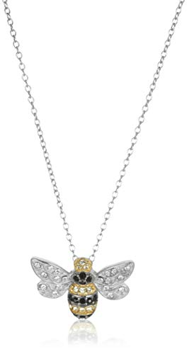 Sterling Silver Bee Pendant Necklace- with Swarovski Crystal