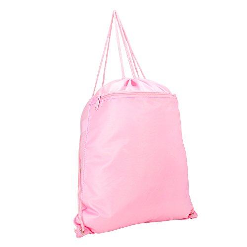 DALIX Sock Pack Sack Drawstring Backpack Bag in Pink