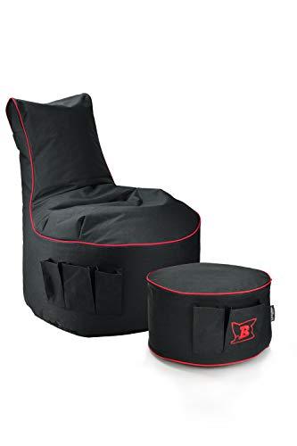 Maverick Gaming Set Sitzsack mit Sitzhocker/Fußbank Schwarz mit Keder Farben wählbar Beanbag mit Seitentaschen & Reißverschluss zum nachfüllen Playstation PS4 XBOX360 XboxOne Nintendo (Fire Rot)