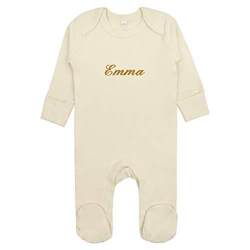 Fair Trade Baby Schlafanzug/Strampler mit Namen bestickt aus 100% Bio-Baumwolle (Natur, 3-6 Monate)