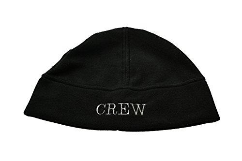 MOTIVEX Mütze Aufschrift Crew, Beanie aus Polartec Micro-Fleece Farbe: schwarz Grösse L-XL