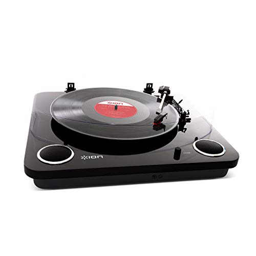 ION Audio Max LP Black |Three Speed Vinyl Conversion Turntable with Stereo Speakers, USB Output to Convert Vinyl Records to Digital Files and Standard RCA & Headphone Outputs