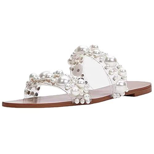 HLDJ Sandalias para Mujer Chanclas De Playa De Perlas Sandalias Blancas Planas De Diapositivas Zapatos De Verano Vintage Bohemia,Blanco,EU35 US5.5 UK3.5