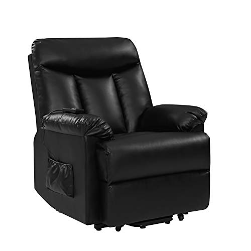 Domesis Renu Leather Power Lift Chair Recliner, Black