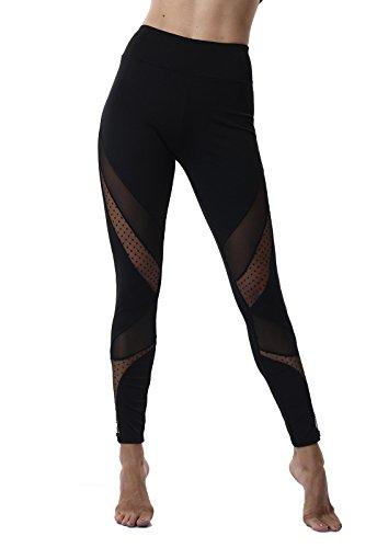 FITTOO Pantaloni Sportivi da Donna Leggins Calzamaglia da Yoga Tulle Sexy Maglia Vita Alta per Fitness Running Gym Jogging
