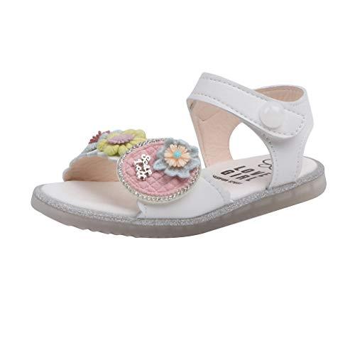 Ghemdilmn Sandalias decorativas de piña y flores para niñas, con suelo suave, antideslizantes, suela de cristal, zapatos de playa, cómodos y con velcro blanco 4-4.5 años