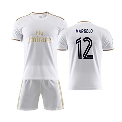 YUUY Herren Football Uniform Anzug Marcelo Vieira da Silva Junior # 12 Team Sportswear Fan Jersey Football Hemd Kurzarm Anzug Unisex (Color : B, Size : Child-24)